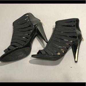 MARC FISHER caged black dress sandals heels pumps